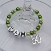 50th Birthday Personalised Wine Glass Charm - Full Bead Style